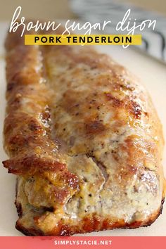 Brown Sugar Dijon Pork Tenderloin is the easiest recipe ever! The glaze is a mouthwatering blend of Dijon mustard and brown sugar that is sweet & savory! Pork Sausage Recipes, Meat Recipes, Cooking Recipes, Lasagna Recipes, Kale Recipes, Carrot Recipes, Eggplant Recipes, Avocado Recipes, Noodle Recipes
