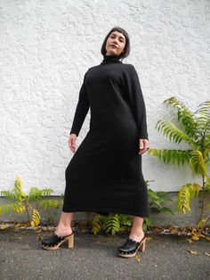 Retro Maxi Turtleneck Dress   Long black bodycon turtleneck dress   Large L Dress Long, High Neck Dress, Turtleneck Dress, Black Maxi, Long Black, Turtle Neck, Retro, Sleeves, Model