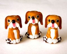 Cute brown dog beads, lampwork glass, tan and white beagle mutts, floppy eared puppy beads, hound dogs, qty 3