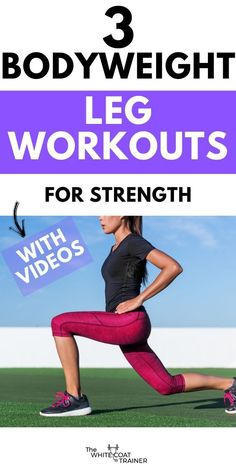 Check out these 3 simple bodyweight leg workouts you can do at home. They will improve your leg strength. They only include the best exercises and have instructional videos. Check them out today. Calisthenics Leg Workout, Plyometric Workout, Plyometrics, Leg Training, Strength Training Workouts, Fit Board Workouts, Leg Workouts, Exercises, Single Leg Glute Bridge