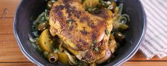 Moroccan Chicken by Michael Symon Serve up a taste of North Africa with this Tumeric, Cinnamon, and Ginger infused chicken! Qinuoa Recipes, The Chew Recipes, Chicken Recipes, Dinner Recipes, Cooking Recipes, Syrian Recipes, Recipies, Yogurt Recipes, Healthy Recipes
