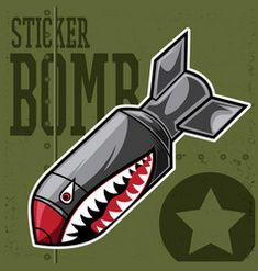 Air bomb flying tiger shark mouth sticker vinyl Vector Image Rock Poster, Bike Poster, Lichtenstein Pop Art, Shark Mouth, Airplane Tattoos, Native American Tattoos, Drawing Body Poses, Military Drawings, Diy Wall Painting