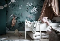 Happy Friday everyone! Wishing you all a pleasant weekend by sharing this enchanting image of wallpaper Faded Passion Green taken by… Green Wallpaper, Flower Wallpaper, Pattern Wallpaper, Bedroom Wallpaper, Kids Wallpaper, Whole Image, Kids Decor, Home Decor, Modern Room