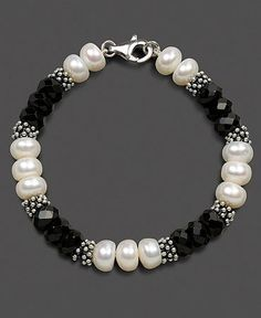 Check the way to make a special photo charms, and add it into your Pandora bracelets. Sterling Silver Bracelet, Cultured Freshwater Pearl and Onyx by becky Pearl Jewelry, Wire Jewelry, Beaded Jewelry, Jewelery, Jewelry Bracelets, Pandora Bracelets, Ankle Bracelets, Handmade Bracelets, Women's Bracelets