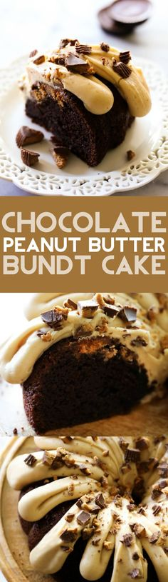 This Chocolate Peanut Butter Bundt Cake is super moist and delicious. It is loaded with Reese's Chocolates and is a chocolate-peanut butter lover's dream come true! The Peanut Butter Cream Cheese Frosting is out of this world!