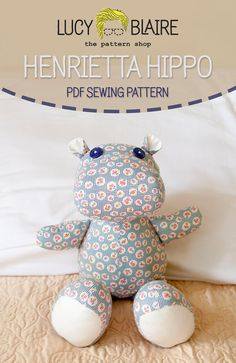 Henrietta Hippo Stuffed Animal Sewing Pattern by LucyBlaire on Etsy Sewing Toys, Sewing Crafts, Sewing Projects, Sewing Stuffed Animals, Stuffed Animal Patterns, Stuffed Animal Diy, Homemade Stuffed Animals, Fabric Toys, Fabric Scraps