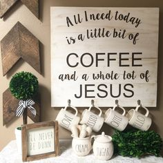 Coffee mug rack rae dunn mug holder coffee by Thebannergirls Coffee Nook, Coffee Bar Home, Home Coffee Stations, Coffee Wine, Coffee Corner, Coffee Bars, Coffee Tables, Mug Display, Display Ideas