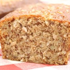 Banana Coconut Loaf (Allrecipes) Good flavor. Moist bread. Loaf got pretty dark before done and had to cover it with foil and the whole bottom tore when trying to get this out of the pan.  No cherries. No nuts. + coconut extract