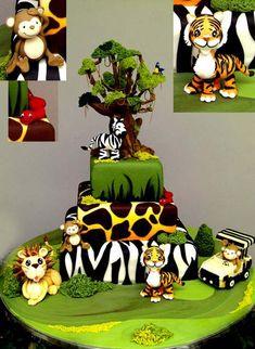 Animal Jungle Safari Theme Kids Birthday Party Cakes and Cupcakes Jungle Birthday Cakes, Jungle Cake, Animal Birthday, Jungle Theme, Jungle Safari, Safari Theme, Jungle Animals, Sugar Animal, Zoo Cake