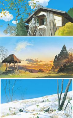Cenários de Kazuo Oga para o estúdio Ghibli Cartoon Background, Animation Background, Art Background, Background Patterns, Environment Sketch, Environment Design, Fantasy Landscape, Landscape Art, Art Studio Ghibli