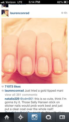 Gold tips manicure. Grad nails to match my gold shoes