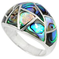 925 sterling silver green abalone paua seashell dome ring size 5.5 h47515 #jewelexi #Ring