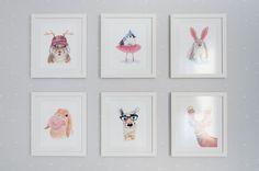 Quartinho de bebê moderninho - decoração em cinza, branco e rosa - Quadrinhos de ilustrações de bichinhos( Fotos: Rejane Wolff )