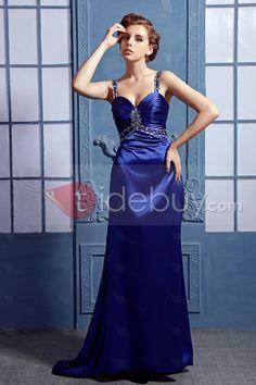 スイートハートネックラインビーズストラップイブニングドレス
