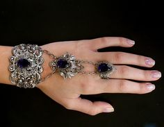 Swarovski Purple Slave Bracelet Gothic Silver by LeBoudoirNoir
