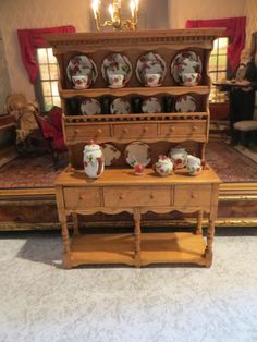 nice dollhouse miniature signed MC sideboard and hutch filled with signed apple blossom dishes