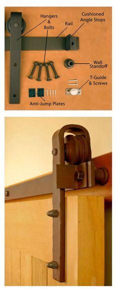 Устройство механизма для передвижения амбарных дверей.