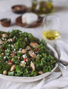 A super healthy Gigante Bean and Kale Salad recipe with Roasted Red Peppers and Feta Cheese