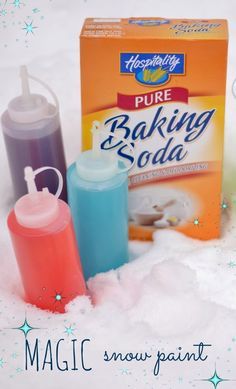 "Smart! Sprinkle baking soda on snow & send kids on a hunt for ""magic"" snow with vinegar paint"