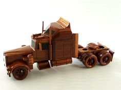 Kenworth Semi - Premium Wood Designs #Military #Car #Truck #Wood premiumwooddesigns.com Wooden Toy Trucks, Wooden Car, Wooden Gifts, Handmade Wooden, Wood Projects, Woodworking Projects, Wood Toys, Wood Crafts, Kids Crafts