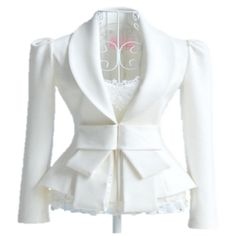 Panache Apparel: White Lace Detail Bow Fold Long Sleeve Blazer Jacket