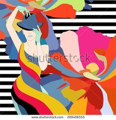 Women's clothing collection on a floral background, Fashion, art  - ViktoriyaPanasenko, fashion illustration