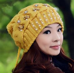 Rhinestone knit beret hat for women warm winter hats with hairball