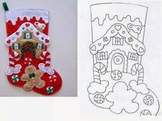 Gingerbread House stocking pattern 1 of 2