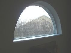 My son has one of those half moon shaped windows in his room. Custom blinds for these things are very expensive. The best option I found. Shaped Windows, Arched Windows, Window Coverings, Window Treatments, Half Moon Window, Diy Window Shades, Window Fans, Custom Blinds, Diy Fan