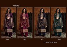 GRAMO-COLOR-EDITION-PAKISTANI-GEORGETTE-SALWAR-KAMEEZ-CATALOGUE-1 Latest Pakistani Suits, Salwar Kameez, Cosmos, Catalog, Kimono Top, Luxury, Women, Fashion, Moda