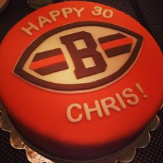 Cleveland Browns birthday cake! Visit www.facebook.com/sarahssweetsensationsohio for more fun cakes!