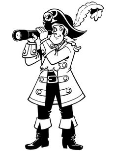 Piet Pirate Using Telescope Coloring Pages - Coloring Ideas Pirate Coloring Pages, Bear Coloring Pages, Easter Coloring Pages, Coloring Pages For Kids, Jack Le Pirate, Pirate Kids, Preschool Pirate Theme, Pirate Activities, Fathers Day Coloring Page
