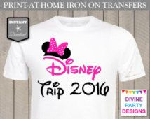 INSTANT DOWNLOAD Print at Home Hot Pink Mouse Disney Trip 2016 Iron On Transfer…
