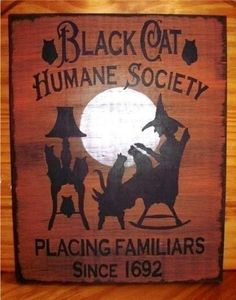 Primitive Witch folk art Black cats humane Society sign halloween props decorations art $24 #NaivePrimitive #artist