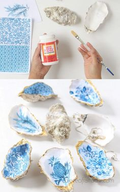Anthropologie Style DIY Oyster Shell Trinket Dish Beautiful DIY Anthropologie style oyster shell trinket dish, catch all tray, jewelry dish & ring holder. Great handmade gift, unique home decor & crafts! – A Piece of Rainbow DIY home decor ideas, Seashell Crafts, Beach Crafts, Seashell Projects, Crafts To Make, Arts And Crafts, Diy Crafts For Gifts, Diy Home Crafts, Garden Crafts, Diy Projects To Try