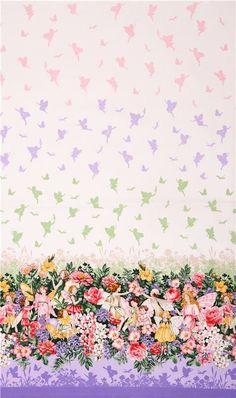 cute fairy flower glitter border panel fabric Michael Miller USA 4