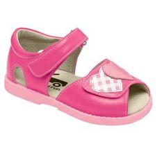 See Kai Run always create the brightest, funnest kids shoes, with great soft leather and flexible soles that allow your child's foot to move as naturally as possible.  Steal my heart! These hot pink sandals have pink and pink plaid heart accents on the toe. Adjustable velcro across the front gives great fit to all. Also available in Mint.