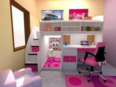 Play & Study Loft Bed. Even little ones need space for themselves. 96L x 51D x 72H.