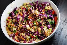 Crunchy Thai Quinoa Recipe. This quinoa veggie bowl sounds like a great quick lunch recipe to bring in on Monday and have a few times that week.