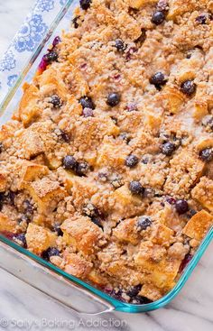 Unbelievable Blueberry French Toast Casserole! This is the perfect crowd-pleasing make ahead recipe for busy mornings.
