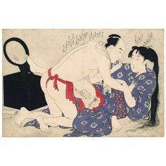 Homme vêtu seulement d'un pagne rouge, et femme dans un kimono bleu. Le pied de la femme se reflète dans le miroir de gauche. Douzième de treize gravures de l'album Negai pas itoguchi (aussi traduit par: Le prélude au désir).