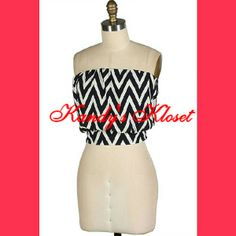 CHEVRON SMOCKED TUBE CROP TOP. LINING INSIDE (GREAT QUALITY)