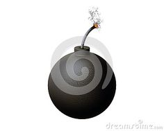 Old bomb with lit fuse, white background