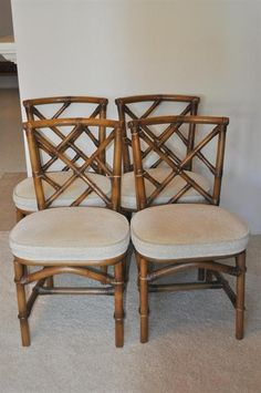 Ficks Reed Vintage Rattan Dining Chairs 4 With Upholstered Seats Sisters Antiques In