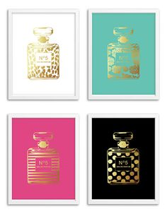Perfume Bottle Foil Art Print Set More Colors by Chicfetti on Etsy