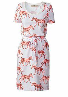 Zebra Crossing Print T-shirt Dress White & Fluoro Pink