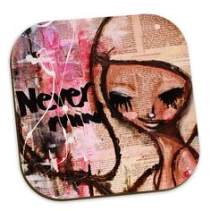 This is a 4 pack of coasters with 4 of my designs. Coaster pack 1 includes these designs: Never mind, Namaste, Luna and Eternal.