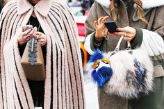 Left, a fuzzy cape is worn with a top-handle bag and cocktail rings. Right, a wool coat is worn with furry Fendi accessories
