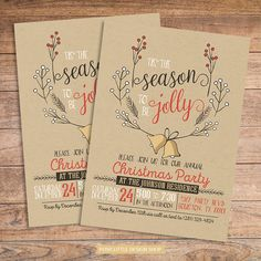 Christmas Party Invitation - Modern Design Jolly Wreath Printable #christmas #party #tistheseason #customized #madetoorder #personalized