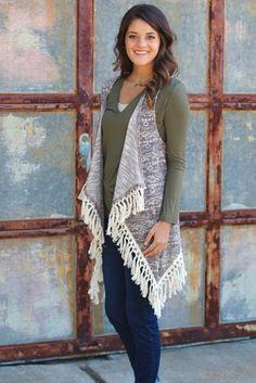 Solitude Frayed Sweater Vest {Mocha Mix} - The Fair Lady Boutique - 1